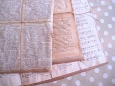 Awesome idea, sew together old book pages, or music sheets to make wrapping paper!