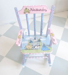 Personalized Painted child rocking Chair with a castle, Princess, Fairy, Stage-Coach and Horse. Painted child rocking chair of a Princess theme. This