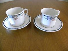 Royal Doulton JUNO Tea Cup Saucer x 2 Hexagonal Irises Oven proof Made England