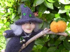 Halloween Witch on Broomstick with Pumpkin - Autumn Needle Felted Decoration  £26.00