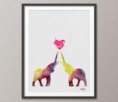 Elephant LOVE Art Print Watercolor Painting 8x10 by CocoMilla, $15.00