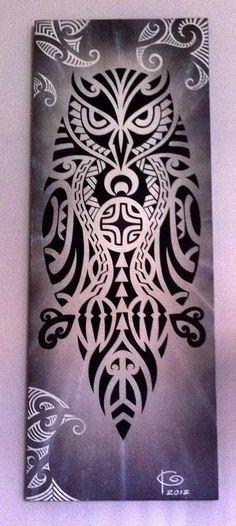#Polynesian #hawaiian #owl #painting #art #pueo #maori #tattoo