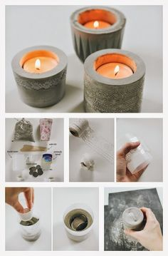 Let's play with cement! DIY candle holders made of cement that you can make at home.(online pictures) These concrete tea light candle holders demonstrate a simple DIY alternative to concrete stencilling in the form of functional home décor. Do It Yourself Projects, Diy Projects To Try, Craft Projects, Cement Art, Concrete Crafts, Cement Planters, Ideias Diy, Concrete Design, Concrete Stool