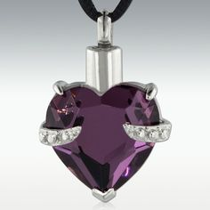 Hold My Heart Amethyst Stainless Steel Cremation Jewelry
