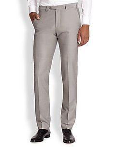 Armani Collezioni Virgin Wool Trousers - White Smoke - Size