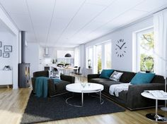 grey and aqua living room | Living Room Designs Dark Gray Sofa Set Completed With Blue White ...