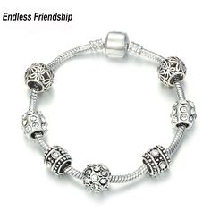 Helpful Spinner Flower Clear Cz With Silver Plated Charms Beads Fit Pandora 3.00mm Snake Chain Bracelet Jewelry Diy Making Accessories Beads Jewelry & Accessories