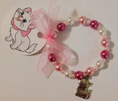 Items similar to 8 - Marie Aristocats Kitten Charm Bracelet With Ribbon Tag Birthday Party Favor or Slumber Party Favor Bracelet on Etsy Slumber Party Favors, Slumber Parties, Unicorn Birthday Parties, Birthday Party Favors, Girl Birthday, Kitten Party, Cat Party, Aristocats Party, Hello Kit
