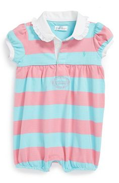 Ralph Lauren Stripe Bubble Romper (Baby Girls) available at #Nordstrom