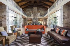 The lodge-like coziness of the lobby at Hyatt Regency Lost Pines Resort & Spa.