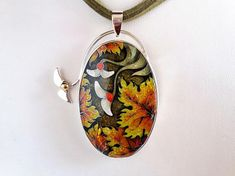 Autumn leaves.   Pendant. Neklace. Cloisonne enamel . Handmade
