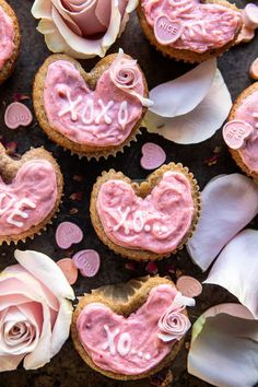 Strawberry Conversation Heart Cupcakes. - Half Baked Harvest Strawberry Cream Cheese Frosting, Strawberry Cupcakes, Strawberry Jam, Strawberry Recipes, Funnel Cakes, Valentines Day Desserts, Valentine Treats, Valentine Cupcakes, Funny Valentine