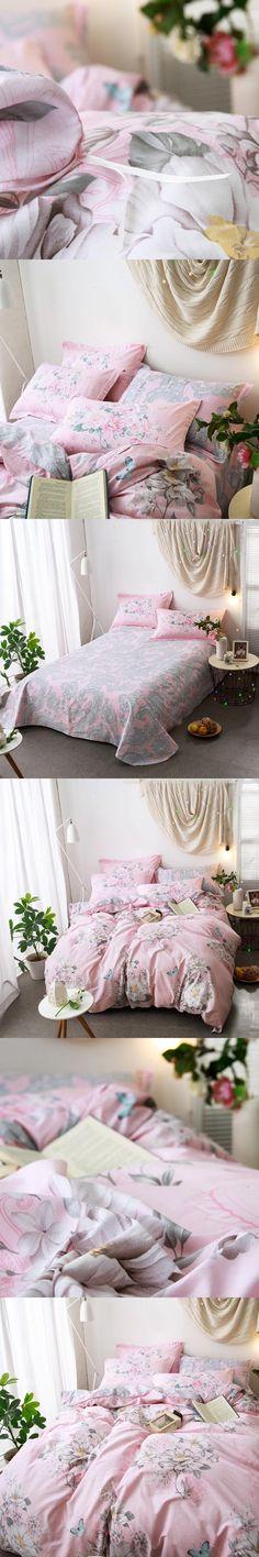 ARNIGU New Elegant Flower butterfly print bedlinen Cotton bedclothes Twin Queen Double Bedding sets pink Duvet cover bed sheet #DoubleBedSheets
