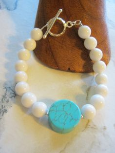 White Jade Bracelet by janislogsdongems on Etsy, $23.00
