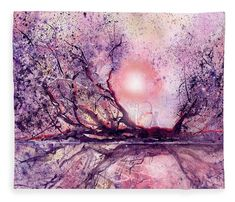 Sunset Swamp Fleece Blanket featuring the painting Sunset Swamp by Sabina Von Arx Canvas Art, Canvas Prints, Art Prints, Mississippi River Delta, Thing 1, Gelli Printing, Creative Colour, Beautiful Artwork, Painting Techniques