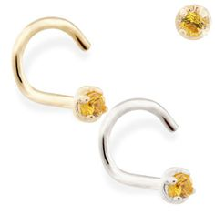 Solid Gold (Nickel free) nose screw with Citrine gem