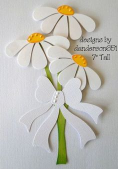 Daises White Bow Paper Piecing Premade 4 Borders Scrapbook Album DANDERSON651 | eBay