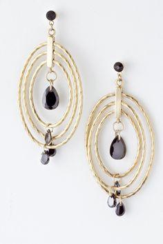Jet Aggie Hoop Earrings on Emma Stine Limited