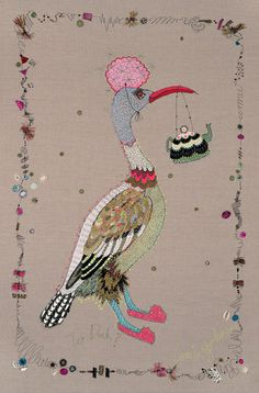 'Bonjour Canard Cupcake' Free Machine Embroidery, Applique and Painting on Canvas. 80cm xx80cm. 2011.
