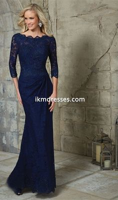 3/4 Sleeves Lace Dark Navy Blue Sheath Mother Of The Bride Dress 2016 Longo Elegant Formal Party Evening Dress Custom-made