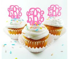 """These unique monogram cupcake toppers come in a set of 6. They are the interlocking font and come in a variety of color. They are acrylic and are easy to clean. They measure 1.5"""" x 1.5"""" this is not in"""