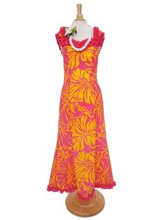 Anuenue [Exclusive] Anuenue Lithographic Hibiscus Cerise & Yellow Poly Cotton Hawaiian Ruffle Muumuu Long Dr