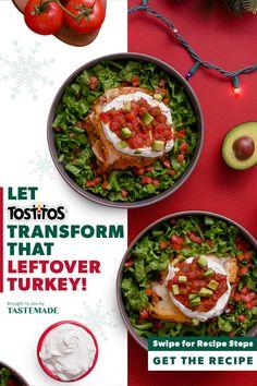 TOSTITOS® Easy Leftover Turkey Chili Bake Vegan Dessert Recipes, Cooking Recipes, Leftover Turkey, Turkey Leftovers, Tastemade Recipes, Turkey Chili, Recipe Steps, Chunky Salsa, Great Recipes