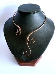 Copper Necklace Wire Wrapped Collar Statement by NataliStudio #WireWrapJewelry