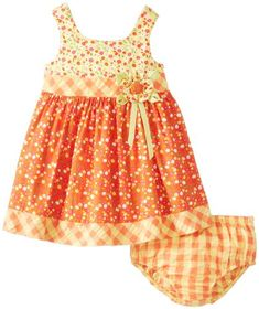 Bonnie Baby BabyGirls Newborn Calico Print Seersucker Dress Orange 36 Months ** Click image for more details. (This is an affiliate link) #BabyGirlDresses