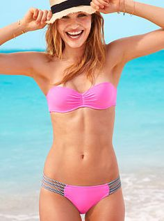 Fringe Bandeau - Beach Sexy - Victoria's Secret from Victoria's Secret. Shop more products from Victoria's Secret on Wanelo. Sexy Bikini, Bikini Rosa, Bikini Swimwear, Bandeau Bikini, Frill Bikini, Pink Swimsuit, Pink Bikini, The Bikini, Bikini Set