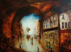 ARTFINDER: The High Street by Jack Bagley - This painting shows a busy town street after the rain has passed and the sun again shines giving everything a romantic glaze and reflection. Makes an average...