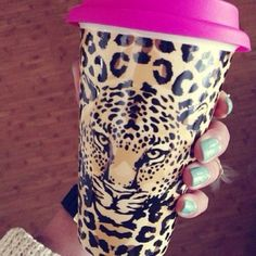 pretty coffee cups | jewels pink leopard pretty cup thermo coffee mug
