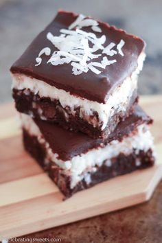 Chocolate Coconut Brownies | Celbrating Sweets