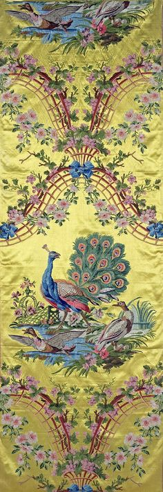 Title: Textile: Peacocks and Pheasants against a Yellow Ground Place of creation: Russia Manufacture, workshop, firm: Lazarev Factory Authors: Project designer: Lasalle, Philippe de. 1723-1805 Date: 1795-1796 Material: silk, chenille, satin Inventory Number: Т-15900