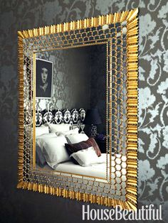 A 1960s Peruvian mirror, courtesy of Allan Nederpelt, adds Baroque glamour to the bedroom.