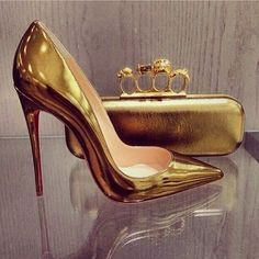 Gold Patent Leather Christian Louboutin Red Bottoms Pointed Toe High Heels in 'So Kate' Pumps & Gold Alexander McQueen Evening Bag Clutch High Heels Boots, Shoes Heels, Pump Shoes, Fab Shoes, Ankle Boots, Zapatos Shoes, Christian Louboutin So Kate, Prom Heels, Beautiful Shoes