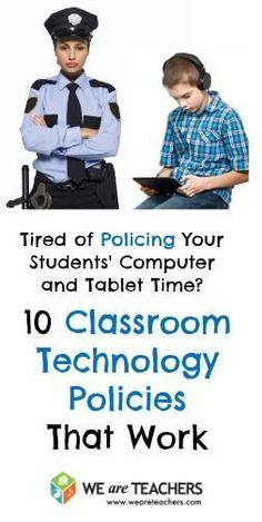 Great ideas in this article: 10 Classroom Technology Policies That Work. Some are aimed towards younger grades can use some of these ideas in the high school. Stop Policing Classroom Computer Time! Teaching Technology, Teaching Tools, Educational Technology, Technology Integration, Business Technology, Technology Tools, Medical Technology, Energy Technology, Teacher Resources