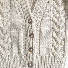 Infant Aran cardigan - 6 to 12 months - Baby Aran hand knit sweater - Baby Knitwear - Gift for baby - Handknit infant clothes Baby Knitting Patterns, Knitting Stitches, Hand Knitting, Stitch Patterns, Boys Sweaters, Hand Knitted Sweaters, Flower Ball, Baby Boy, Baby Month By Month