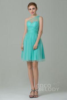 Sweet+One+Shoulder+Natural+Short-Mini+Tulle+Mint+Sleeveless+Side+Zipper+Bridesmaid+Dress+LOZM1503F