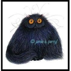 It's All About the Hair - Black Persian cat giclee print by Jamie S. Perry