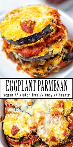 Seriously the most delicious Eggplant Parmesan you've ever made. It is all about my shortcut method which will save you a good amount of time. The result will be crispy and creamy and no one would ever taste it is even vegan. Foolproof with step by step pictures for your family. #vegan #dairyfree #vegetarian #dinner #lunch #contentednesscooking #mealprep #eggplantparmesan #freezermeals Clean Eating Recipes, Lunch Recipes, Free Recipes, Eating Vegan, Vegan Food, Healthy Comfort Food, Comfort Foods, Vegan Eggplant Parmesan, Easy Mediterranean Recipes