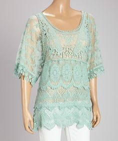 This Pretty Angel Light Green Sheer Lace Linen-Blend Dolman Top by Pretty Angel is perfect! #zulilyfinds