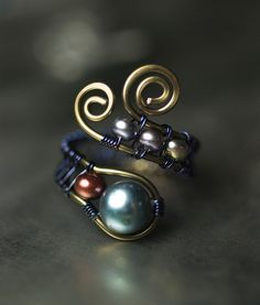 Royal Blue Cranbury Peacock Freshwater Pearl Bronze Copper Ring by Moss & Mist Jewelry