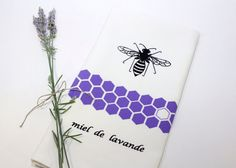 Lavender Honey Bee Tea Towel Hand Screen Printed by titiluli, $17.00