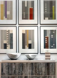 Ikat weaves by Mary Restieaux above a reclaimed driftwood cabinet by Edward Teasdale Weaving Textiles, Weaving Art, Tapestry Weaving, Diy Arts And Crafts, Home Crafts, Yarn Painting, Fibre And Fabric, Strip Quilts, Artwork Design