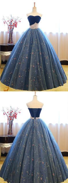 Dusty Blue Ball Gown Prom Dresses, Tulle Sweatheart Ball Gown Formal Dresses,Elegant Evening Dresses,Quinceanera Dresses