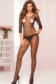 Fashion 2017 New Sexy Women woman bodystocking hollow out mesh lace Stockings Black Floral Fishnet Crotchless Bodystocking H3010 #Affiliate