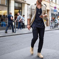 Tanned #jacket, black tshirt and jeans, #chelseaboot ✨ [ www.RoyalFashionist.com ]
