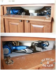 Bathroom Sink Storage for Curling Iron and Blow Dryers #storagesolutionsforbathroom #curlingironstorage #bathroomorganization
