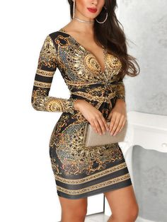 3b1440f3 Ethnic Print Plunge Twist Front Long Sleeve Dress Dresses For Work, Sexy  Dresses, Fashion